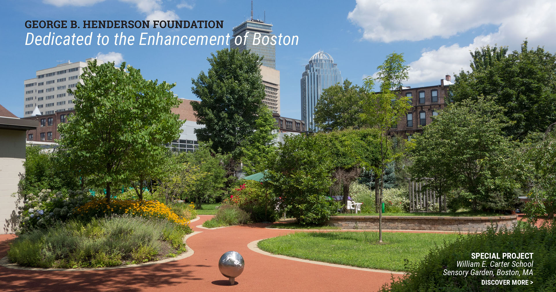 George B. Henderson Foundation | Dedicated to the Enhancement of Boston | photo of the Sensory Garden at the William E. Carter School, Boston, MA
